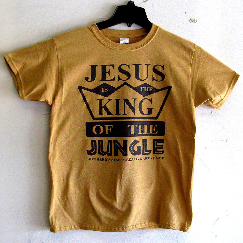 Photo of Jesus is the King of the Jungle screen printed t-shirt.