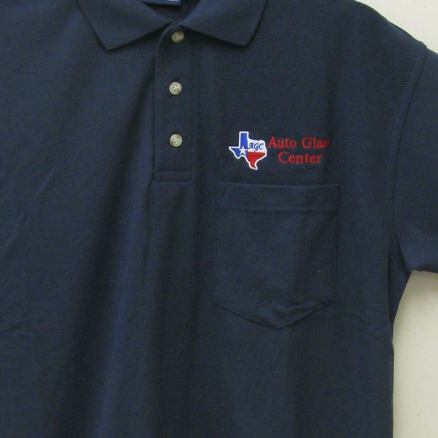 Image of polo shirt with logo embroidered on left chest