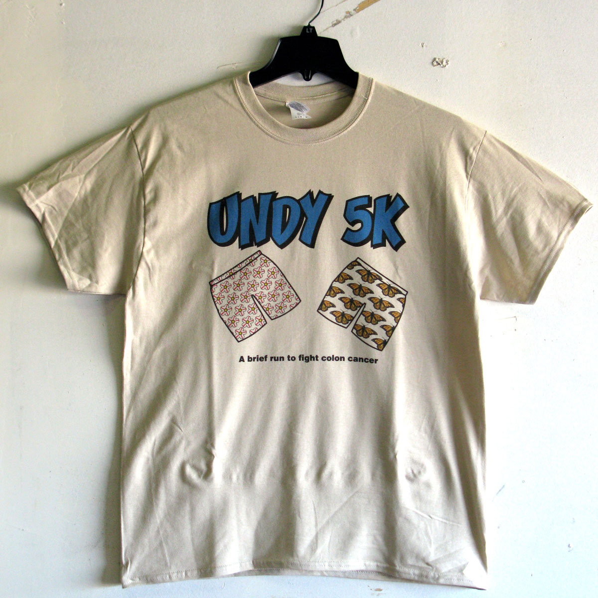 Image of the front design for the Undy 5 K run screen printed t-shirt